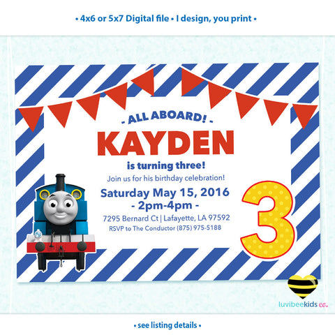 Thomas the Train Invitation, Any Name & Age, Printable Invitations Design #003 - LuvibeeKidsCo
