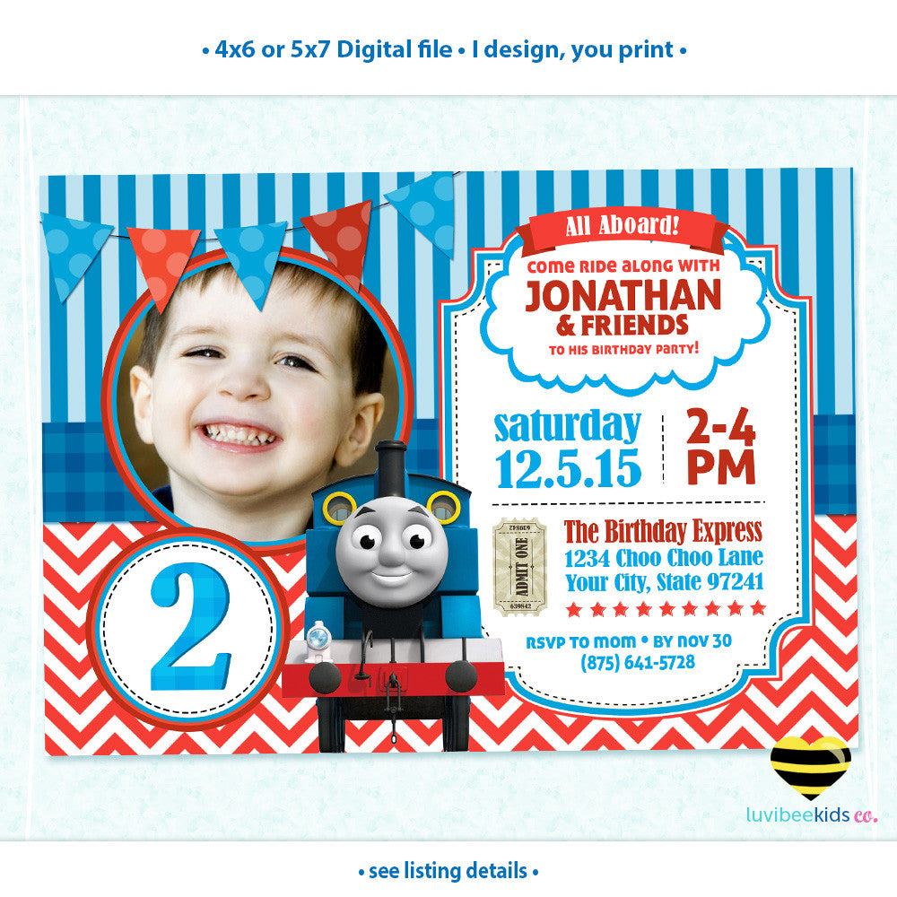 Thomas the Train Invitation with Photo, Any Name & Age, Printable Invitations Design #001 - LuvibeeKidsCo