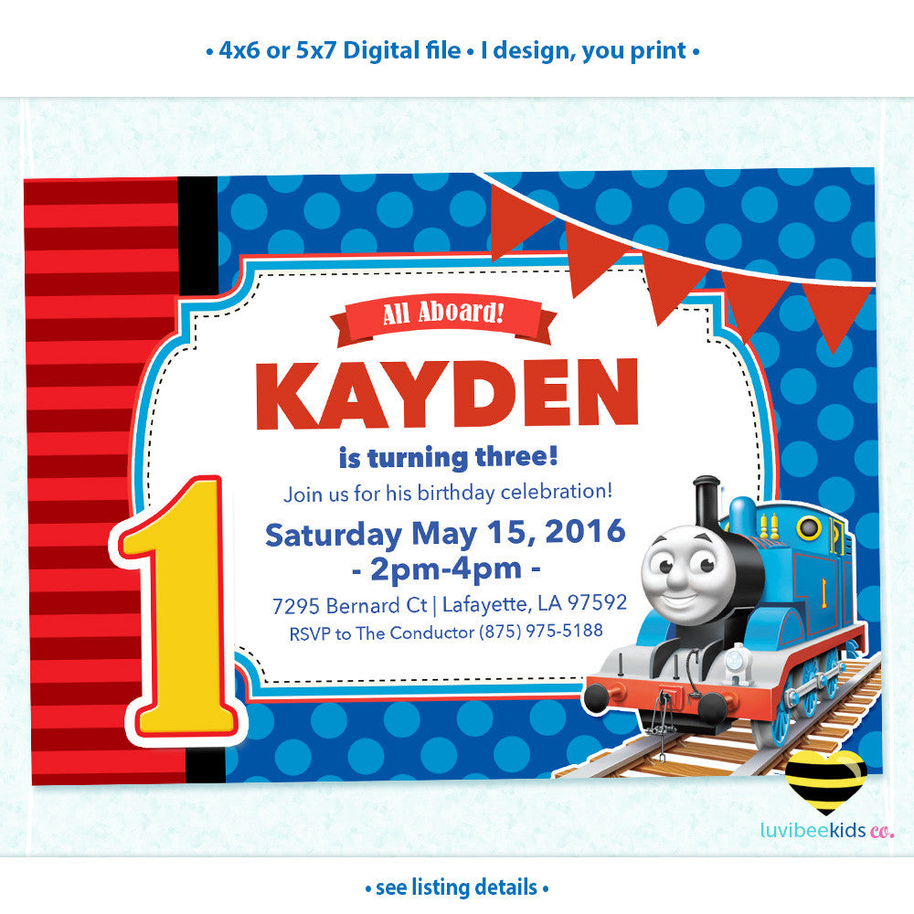 Thomas the Train Invitation, Any Name & Age, Printable Invitations Design #002 - LuvibeeKidsCo