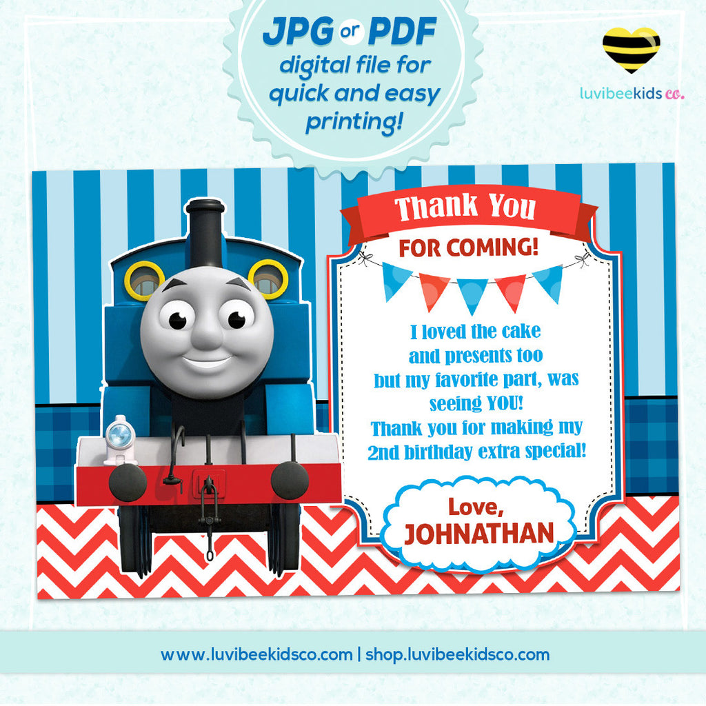Thomas the Train Thank You Card Any Name Age Personalized