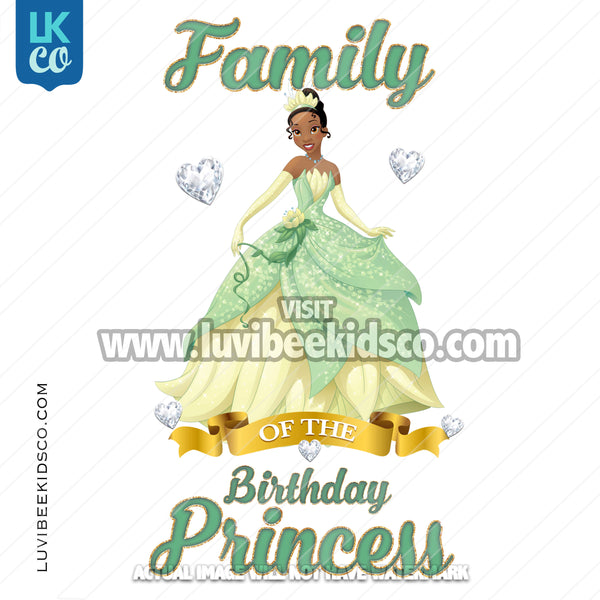 Princess Tiana Heat Transfer Design - Add Family Members - Digital File or Printed Transfer - LuvibeeKidsCo