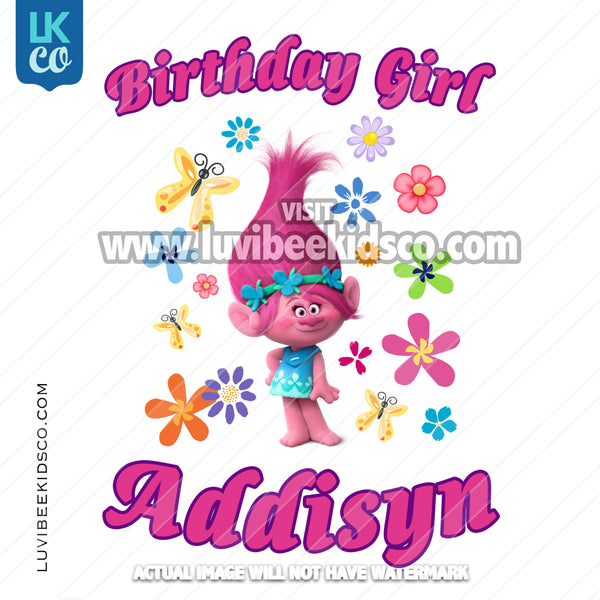 Trolls Poppy Iron On Transfer | Birthday Girl - Name Only - LuvibeeKidsCo