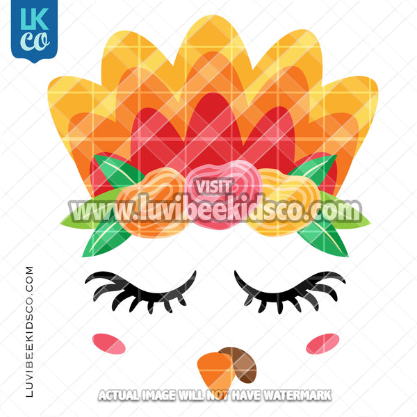 Cute Girl Thanksgiving Turkey Face with Flowers Heat Transfer Design - Select Printed Transfer or Digital SVG & PNG