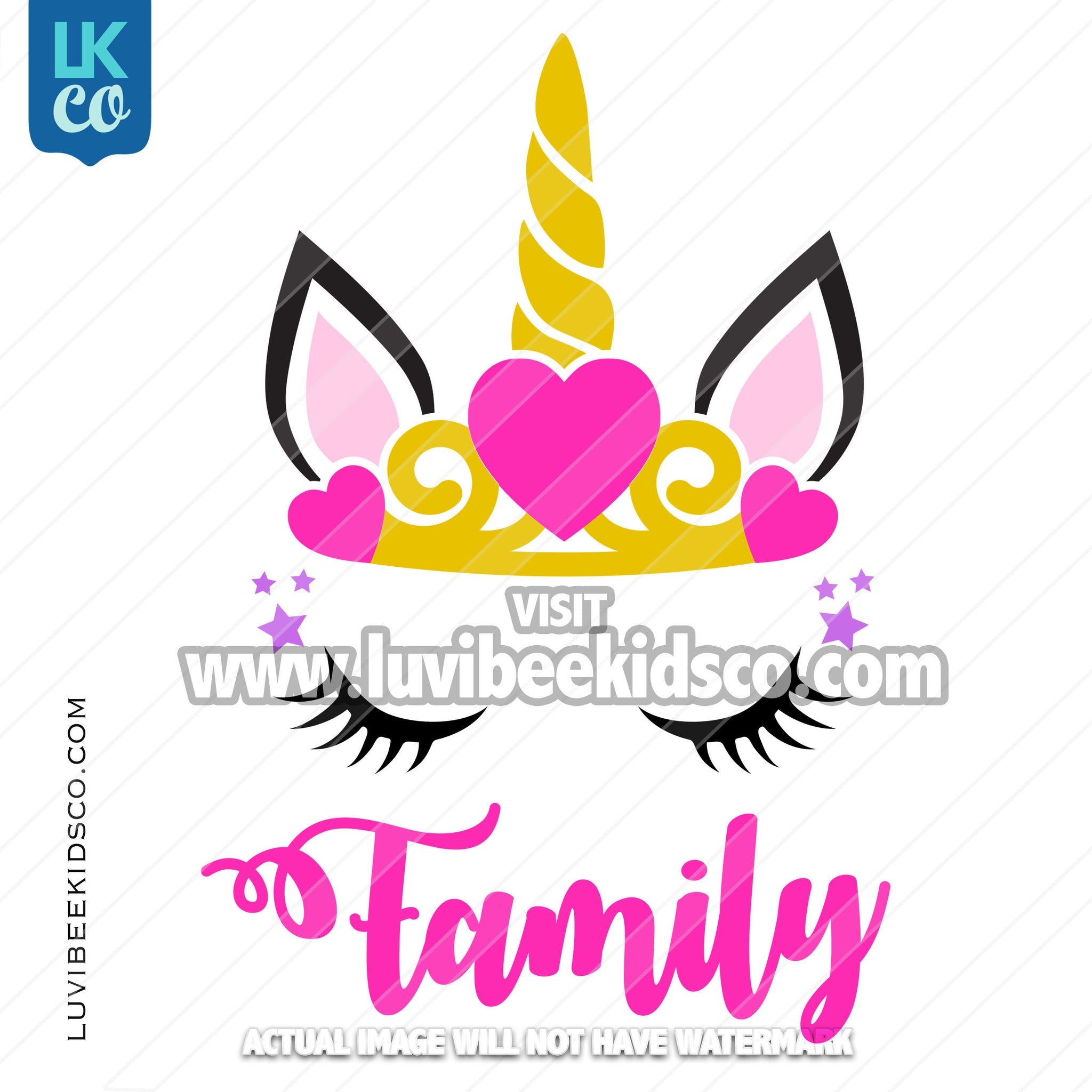 Unicorn Iron On Transfer | Add Family Members - Princess - LuvibeeKidsCo