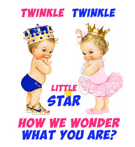 Twinkle Gender Reveal Baby Shower Heat Transfer Design - LuvibeeKidsCo