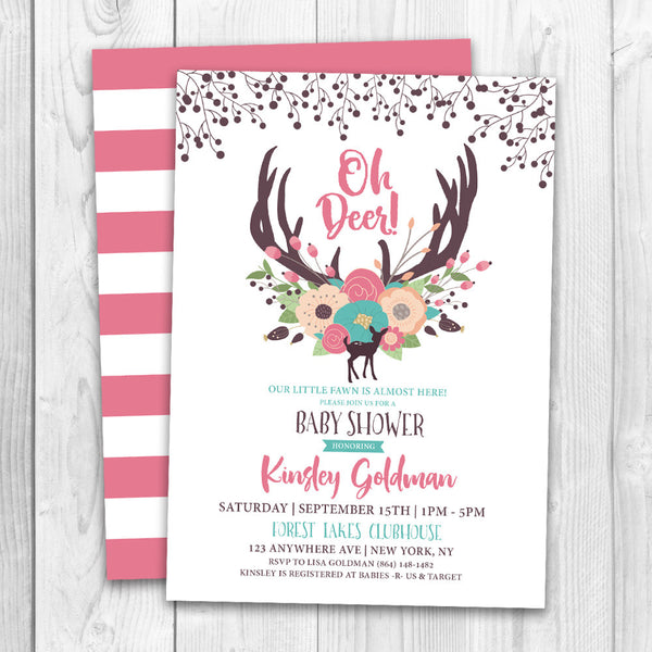 Oh Deer Baby Shower Invitation | Baby Deer Floral Baby Shower - LuvibeeKidsCo