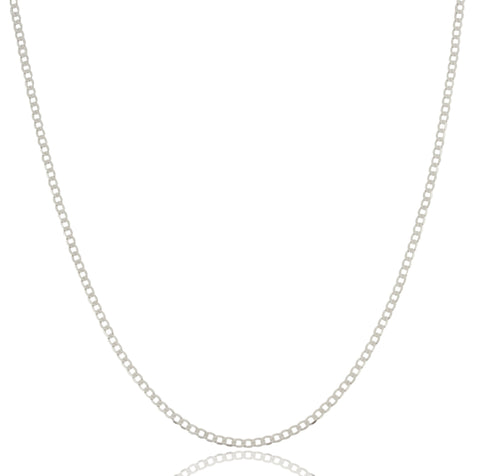 2mm Rhodium Plated Sterling Silver Flat Cuban Chain