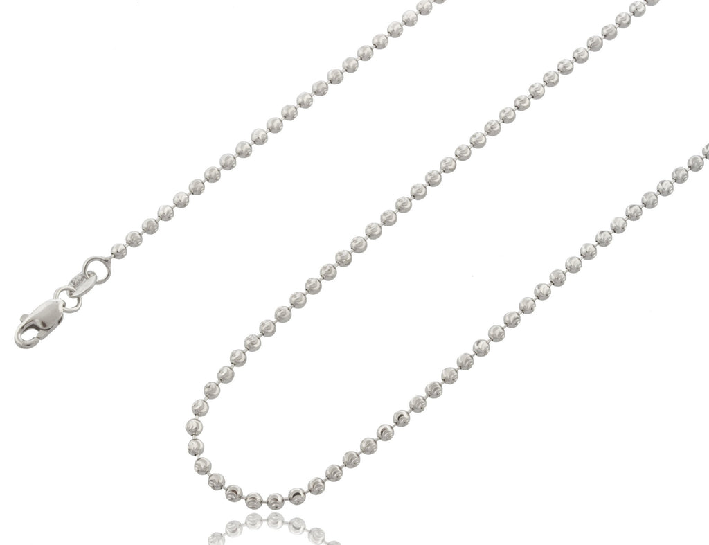 2mm Rhodium Plated Sterling Silver Moon Cut Fancy Beaded Chain