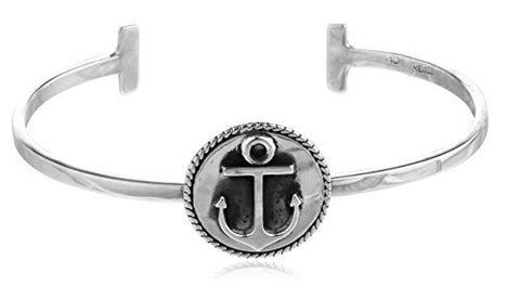 Sterling Silver Adjustable Cuff Bangle Bracelet Anchor Charm