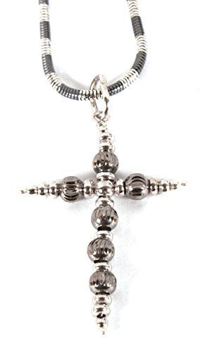 Silver Black Plated with Silver Cross Pendant Necklace