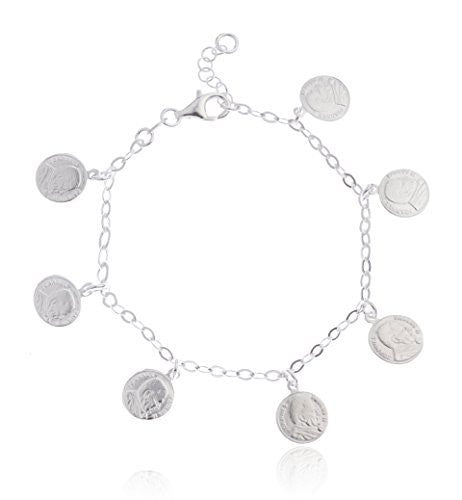 Sterling Silver Adjustable Bracelet Pope John Paul II Coin Charm