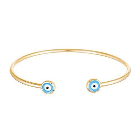 Silver Double Mini Evil Eye Cuff Bracelet (yellow-Gold Plated-silver)