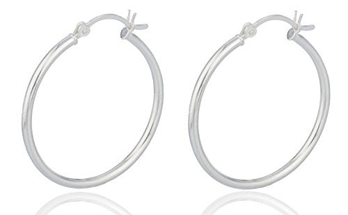 Real 925 Sterling Silver 2mm Hoop Earrings (30 Millimeters)