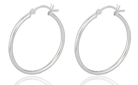Silver 2 Inch Hoop Earrings