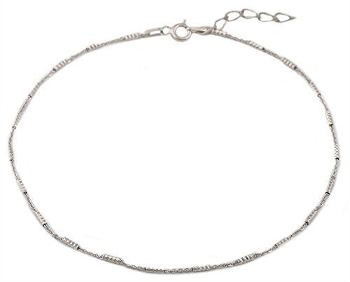 Silver Rhodium Plated Tube Style Anklet