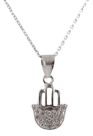 Silver Hollow Finger Hamsa with Stones Pendant 18 Inch Cable Chain Necklace