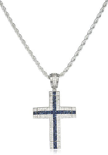 Silver  Cz Cross Blue Stone Center Pendant & Brass Rope Chain