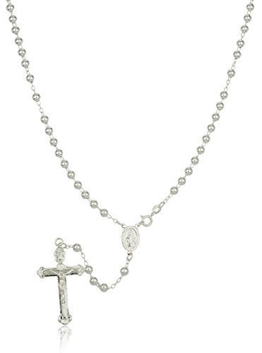 Silver 5mm 18 Inch Beaded Rosary Necklace with a Dangling Cross