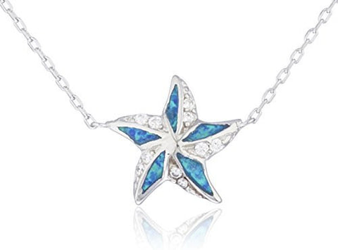 Silver Created Opal Star Design Necklace (Blue)