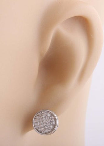 Silver Macro Pave  Silver Circle Shaped Stud Earrings