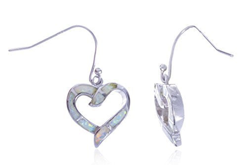 Silver Created Opal Open Heart Dangle Earrings (Multicolor)