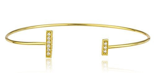 Sterling Silver Cuff Bangle Bracelet Bar Ends with Cz Stones (Gold Plated)