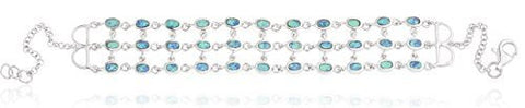 Sterling Silver Created Opal Layered 8 Inch Bracelet
