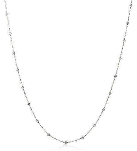 "Silver D-Cut and Moon Cut Beaded Chain Necklace - 18"" and 20"" Available (20 Inches, rhodium-plated-silver)"