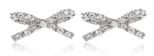 Silver Cubic Zirconia Stones Infinity Ribbon Style Earrings