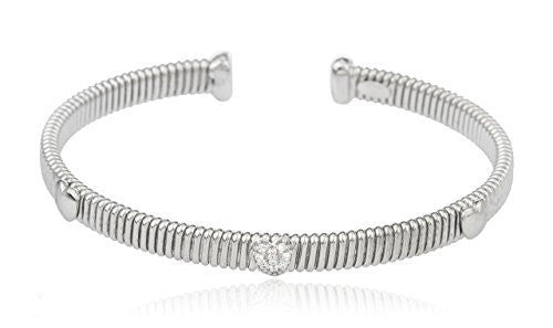 Sterling Silver Cuff Bracelet with Cz Stones and Centered Heart