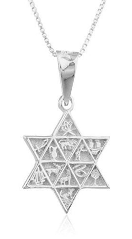 Silver Jewish Star with Eygptian Symbols Pendant and a 24 Inch Box Necklace