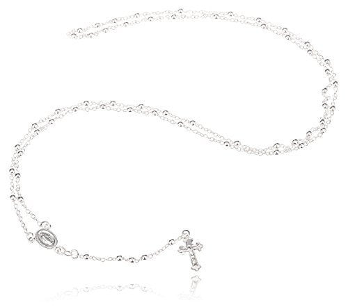 Silver 3mm 24 Inch Beaded Rosary Necklace with Dangling Cross