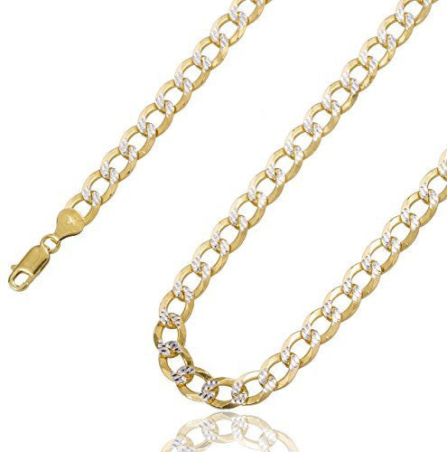 Silver Two Tone Prolux 8mm Flat Cuban Chain Pave Necklace (28 Inches)