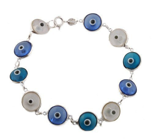 Alternating Transparent Clear, Blue, & Dark Blue Silver Evil Eye Bracelet