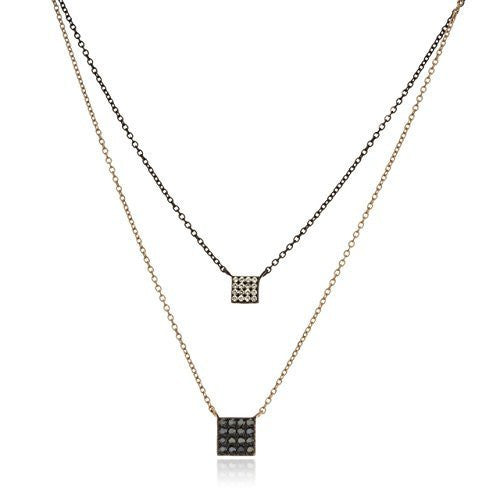 Silver Two Tone Square Shaped Layered Necklace with Black and Clear Cubic Zirconia