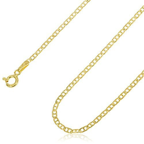 Silver 1.5mm Gold Flat Mariner Chain - Made Italy (20 Inches)