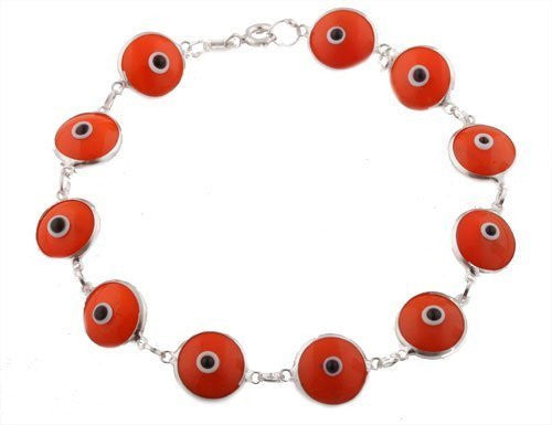Bright Orange Silver Evil Eye Bracelet