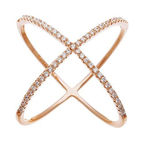 Rose Gold Plated Criss Cross 'X' Ring with Cubic Zirconia Stones (8)