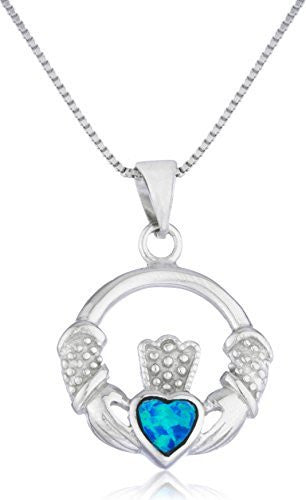 Silver Created Blue Opal Irish Claddagh Pendant 18 Inch Box Chain
