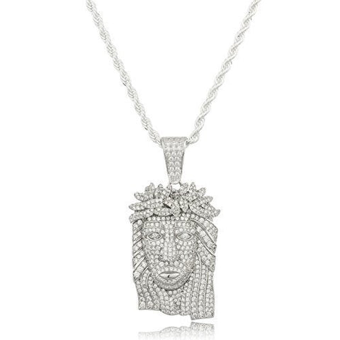 Silver Small Jesus Pendant with Clear Cubic Zirconia and a 3mm Brass Rope Necklace (24 inches)