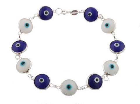 Alternating White & Dark Blue Silver Evil Eye Bracelet