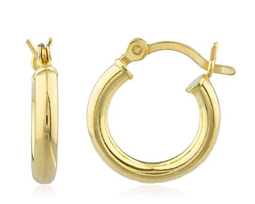 Gold Plated 2.5mm Basic Pincatch Hoop Earrings (14 Millimeters)