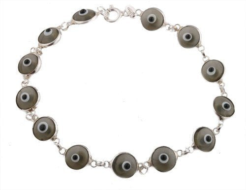 Transparent Smoke Grey 925 Sterling Silver 7 Inch Evil Eye Bracelet