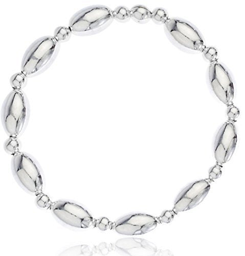 Sterling Silver Bracelet Oval Beaded Stretch Design