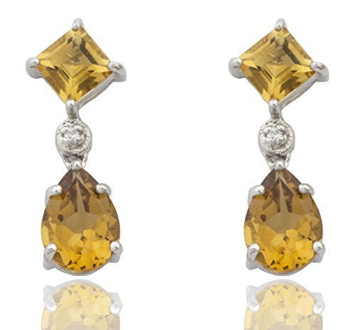 Silver Genuine Citrine November Birthstone with Cz Hanging Drop Earrings