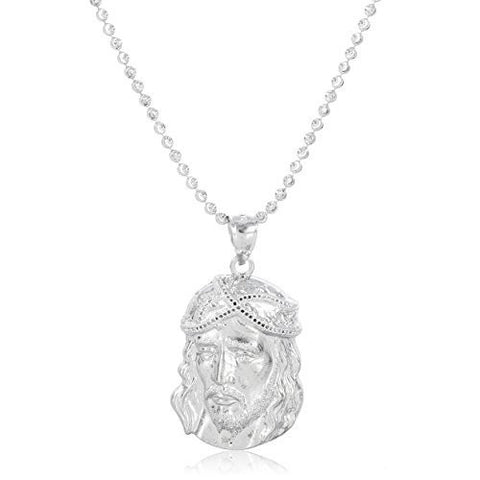 Silver Profile View Jesus Face Pendant with a 2mm Moon Cut 22 Inch Necklace