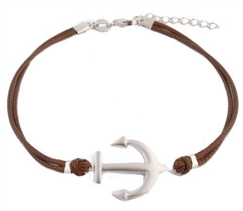 Sterling Silver Adjustable Bracelet Brown with Silver Anchor