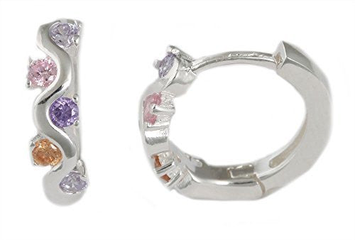 Silver with Multicolor Alternating Stones Huggie Earrings