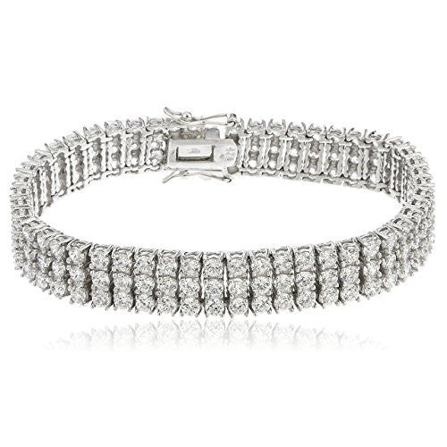 Sterling Silver Bracelet 7.5 Inch Three Row Bridal Style with Multiple CZ Stones