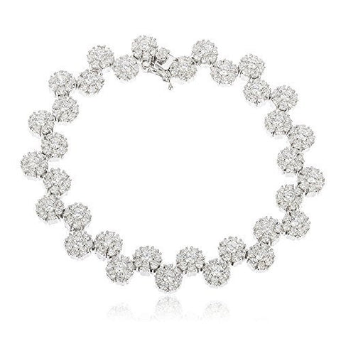 Sterling Silver Tennis Bracelet Iced Out Sunflower Cluster with Cz Stones (7 Inches)